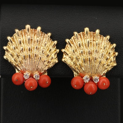 14K Coral and Diamond Scallop Shell Earrings