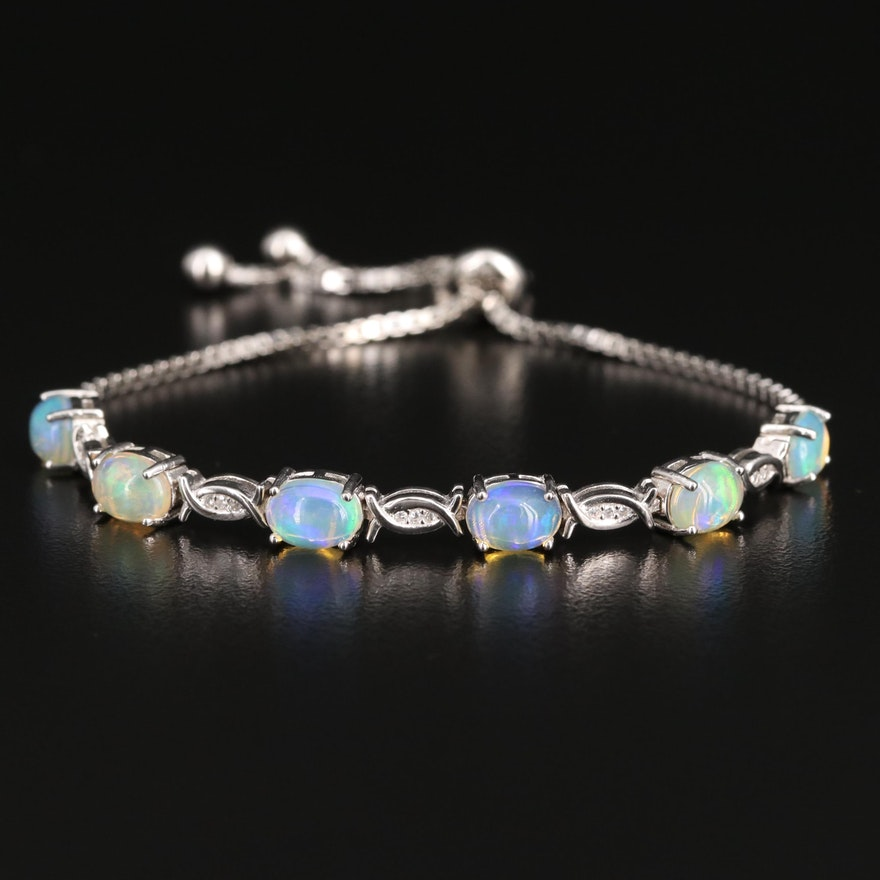 Sterling Opal and Cubic Zirconia Bolo Bracelet