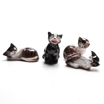 "Royal Doulton Bone China Cat Figurines Including ""Lucky"""