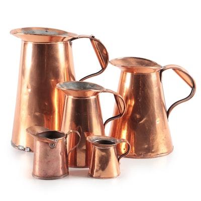 Graduated Copper Liquid Measures, Late 19th Century