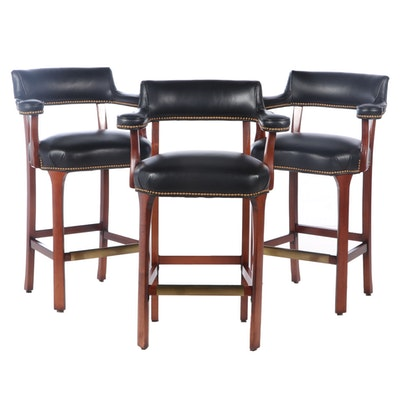Set of Leather Barstools with Armrests and Nailhead Trim