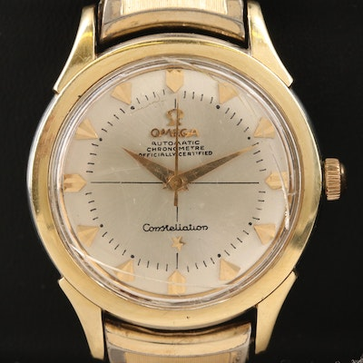 Vintage Omega Constellation Two Tone Stainless Steel Automatic Wristwatch