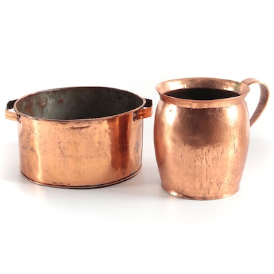 English Tinned Copper Cooking Pot and Pitcher, Mid/Late 19th Century