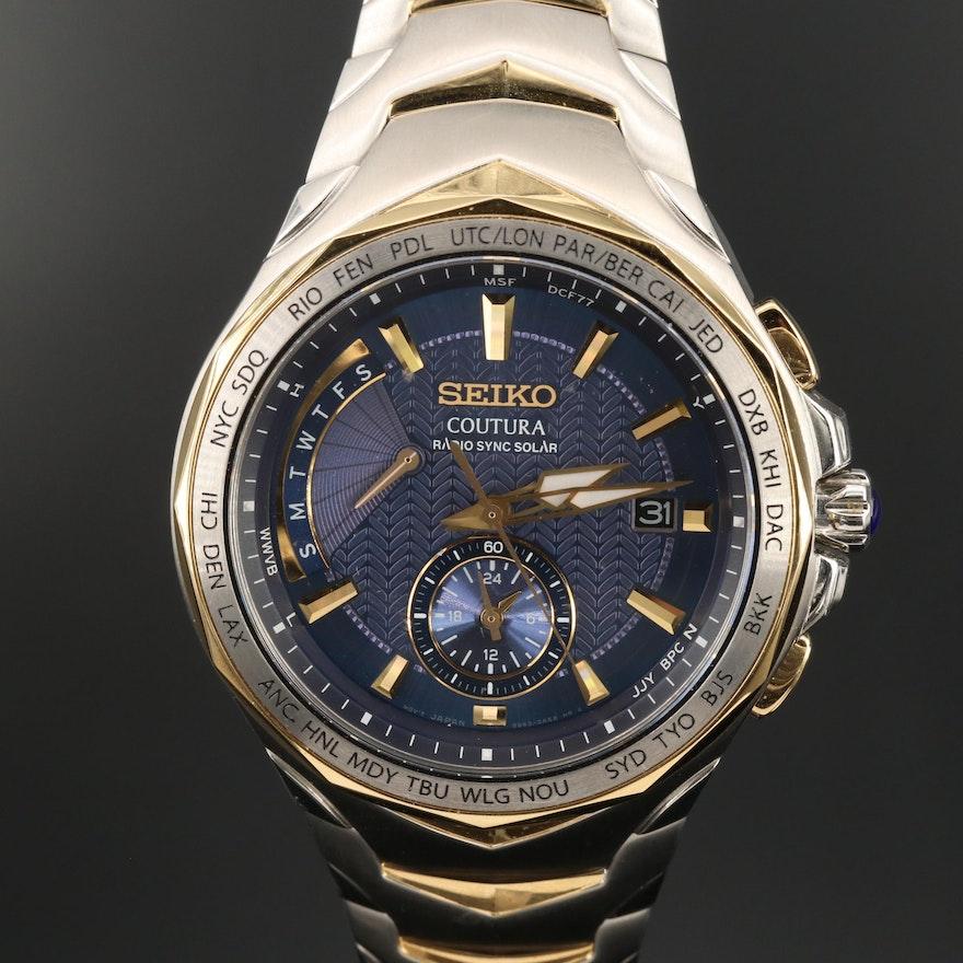 """Seiko """"Coutura Radio Sync Solar"""" Stainless Steel Quartz Wristwatch"""
