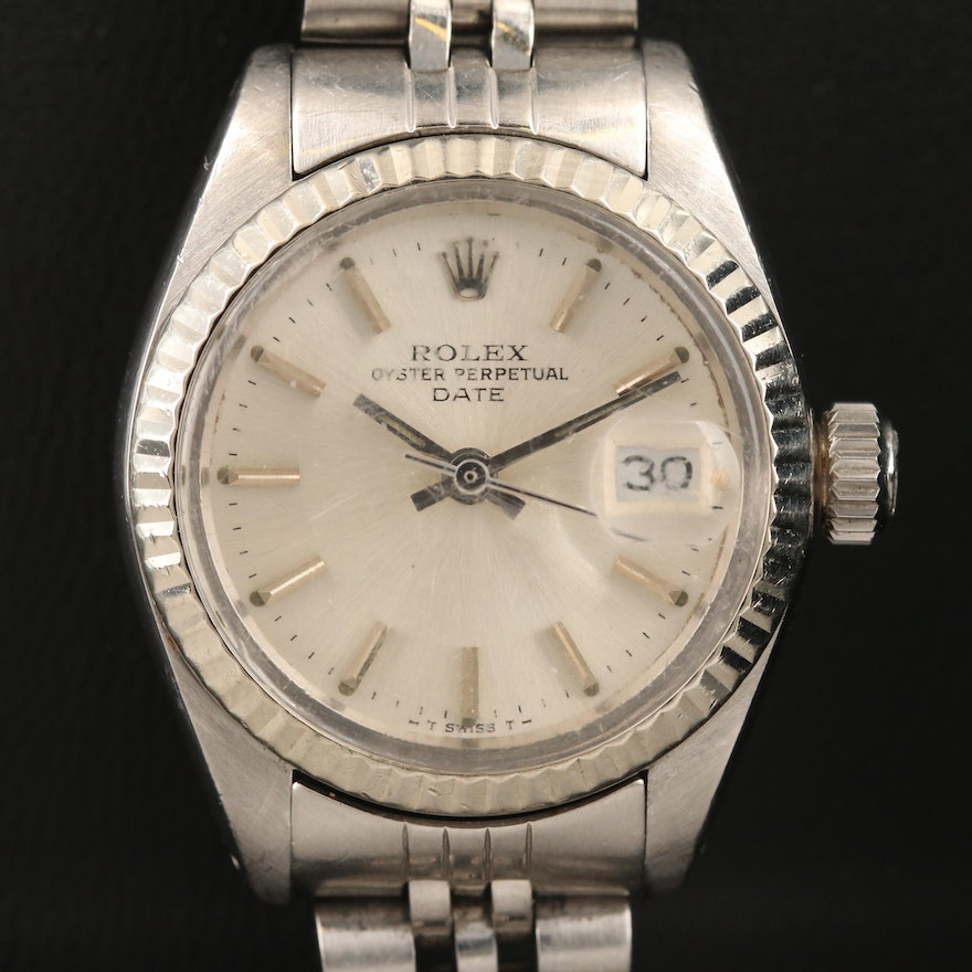 1979 Rolex Date 18K White Gold and Stainless Steel Automatic Wristwatch