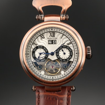 Heritor Ganzi Semi Skeleton  Bronze Tone Automatic Wristwatch