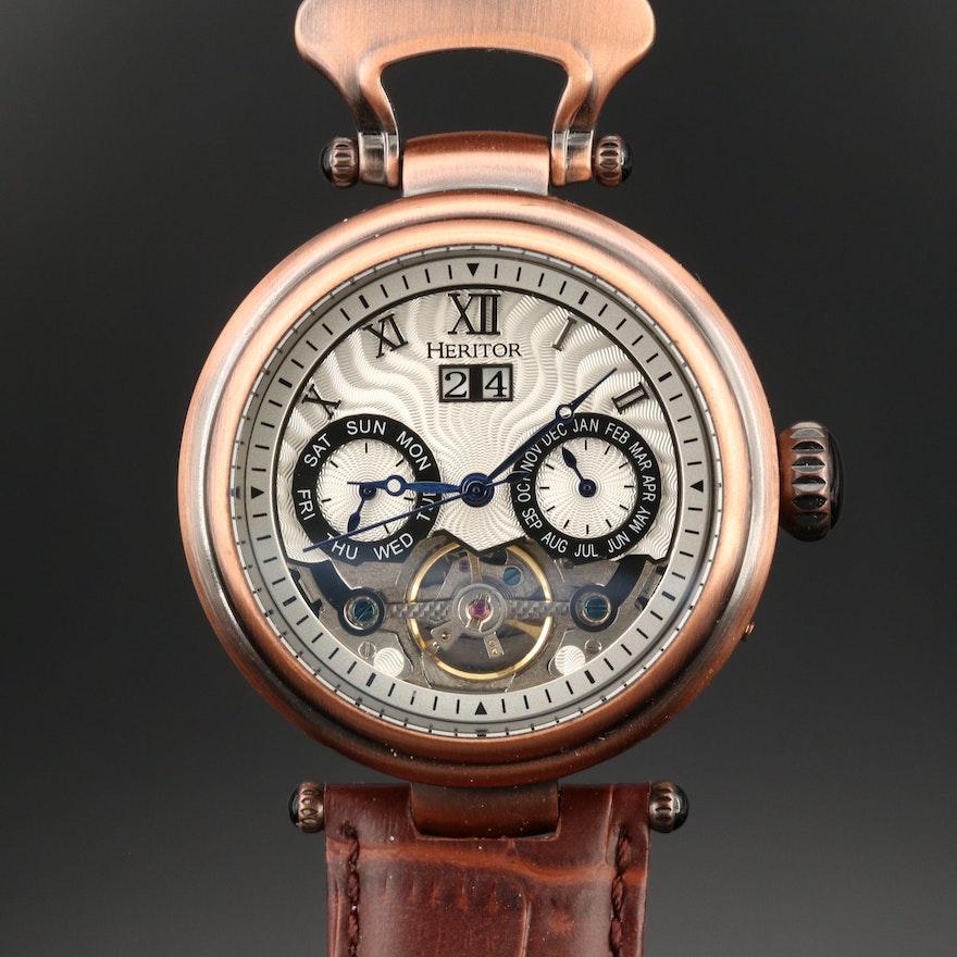 Heritor Ganzi Semi Skeleton  Bronze Tone Automatic Wristwatch