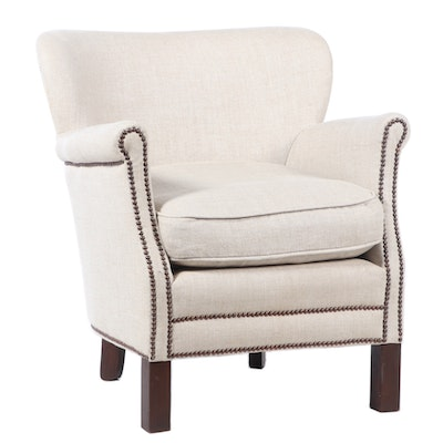Contemporary Wingback Linen Armchair with Nailhead Trim