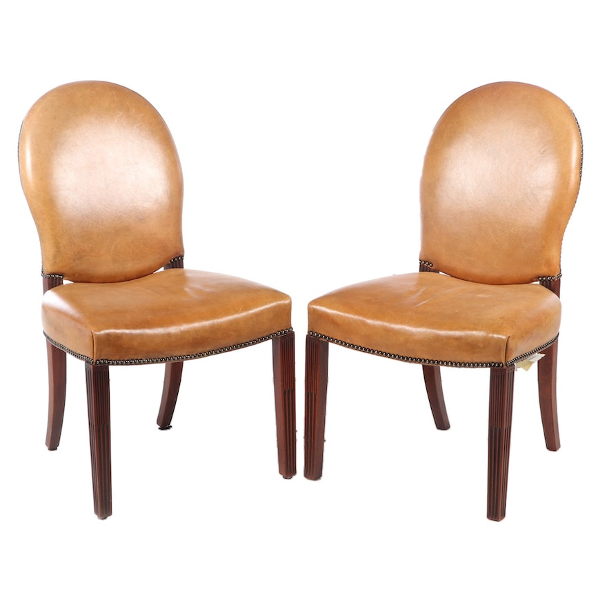 Henredon for Ralph Lauren Leather Dining Chairs with Nailhead Trim