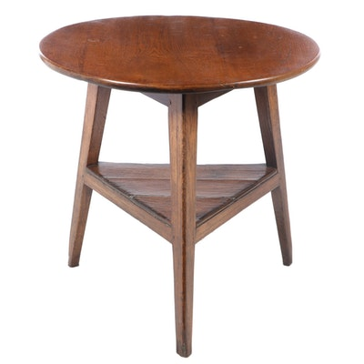 Round Wooden Side Table with Triangular Base, Late 20th Century