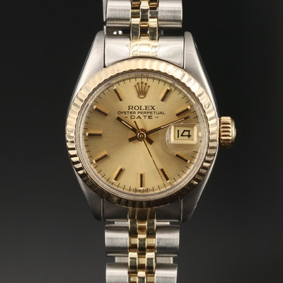 1981 Rolex Date 14K Gold and Stainless Steel Automatic Wristwatch