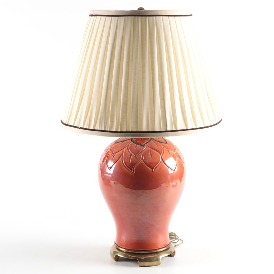 Paul Hanson Chinese Style Ceramic Baluster Table Lamp, Mid/Late 20th Century