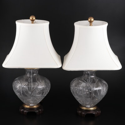 Pair of Crystal Table Lamps, Late 20th Century