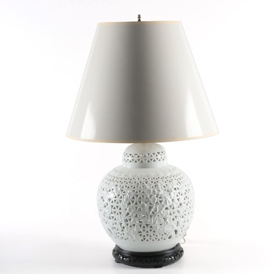 Reticulated Blanc de Chine Ginger Jar Table Lamp