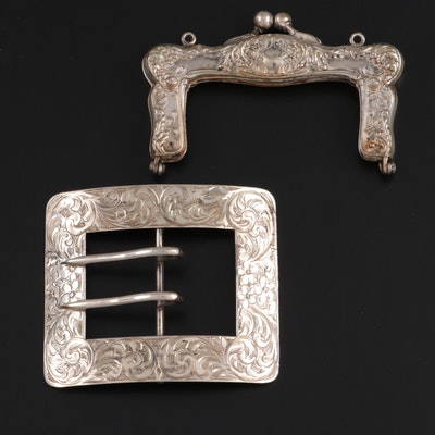 Engraved Sterling Silver Buckle and German Silver Purse Frame