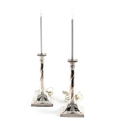 Neoclassical Style Silver Plate Candlestick Console Lamps