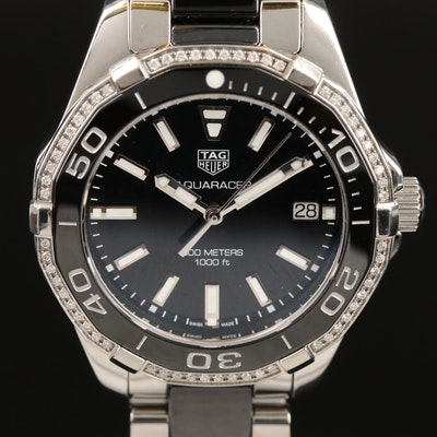 TAG Heuer Aquaracer Black Ceramic and Stainless Steel Diamond Wristwatch