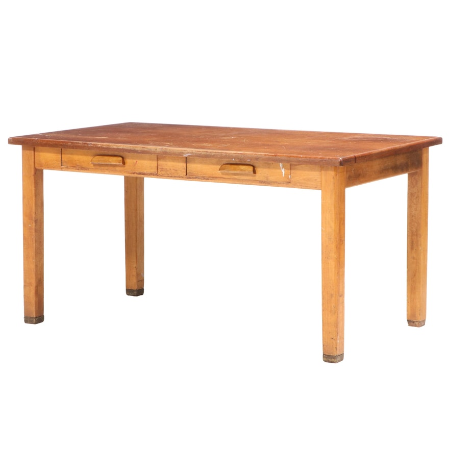 Walnut and Pine Two Drawer Work Table