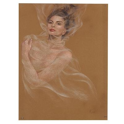"Lidia Kirov Pastel Drawing ""Self Portrait,"" Late 20th Century"