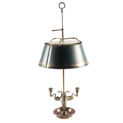 Chapman Three Arm Brass Bouillotte Lamp with Tole Shade, Mid-20th C