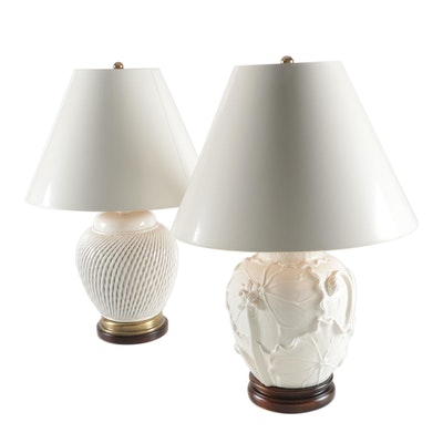 Frederick Cooper Lattice and Lily Pad Motif Blanc de Chine Melon Jar Lamps