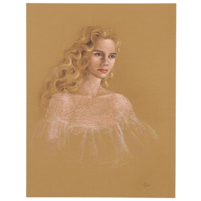 "Lidia Kirov Pastel Drawing ""Denise,"" Late 20th Century"