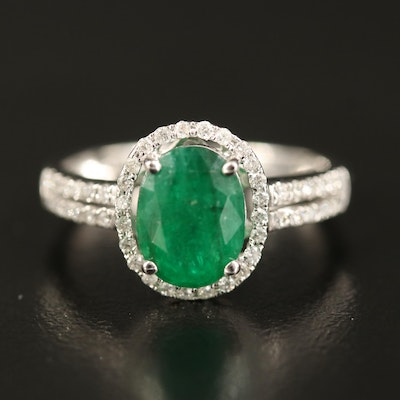 14K 1.60 CT Emerald and Diamond Ring