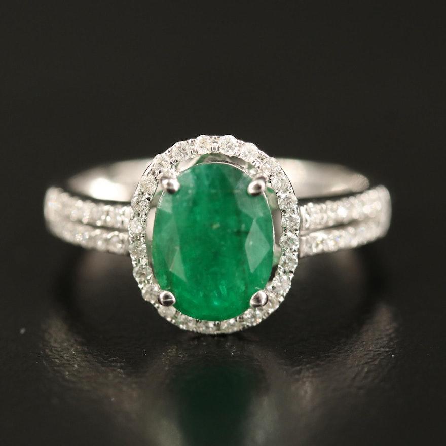 14K 1.60 CT Emerald and Diamond Ring