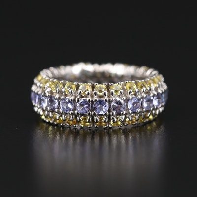 Sterling Silver Tanzanite and Sapphire Multi-Row Eternity Band