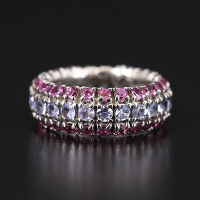 Sterling Silver Tanzanite and Rhodolite Garnet Multi-Row Eternity Band