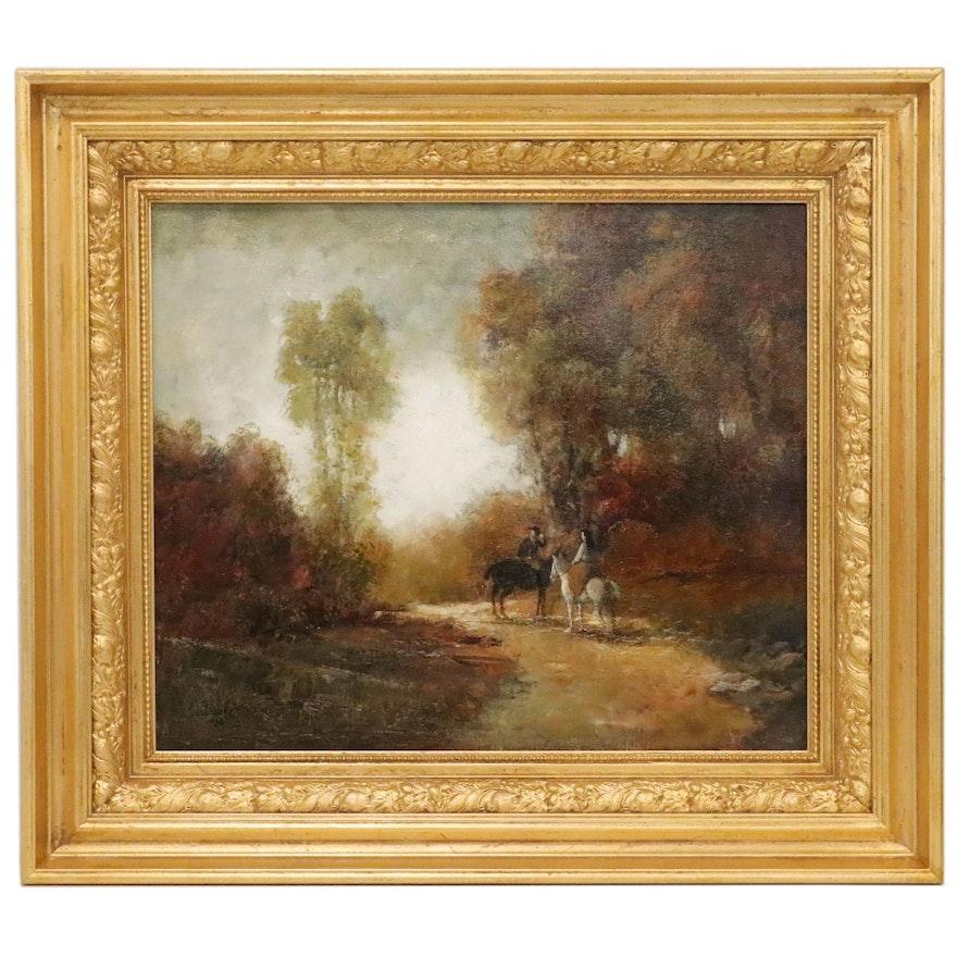 "Richard Neubauer Oil Painting ""Crossing Paths,"" 2006"