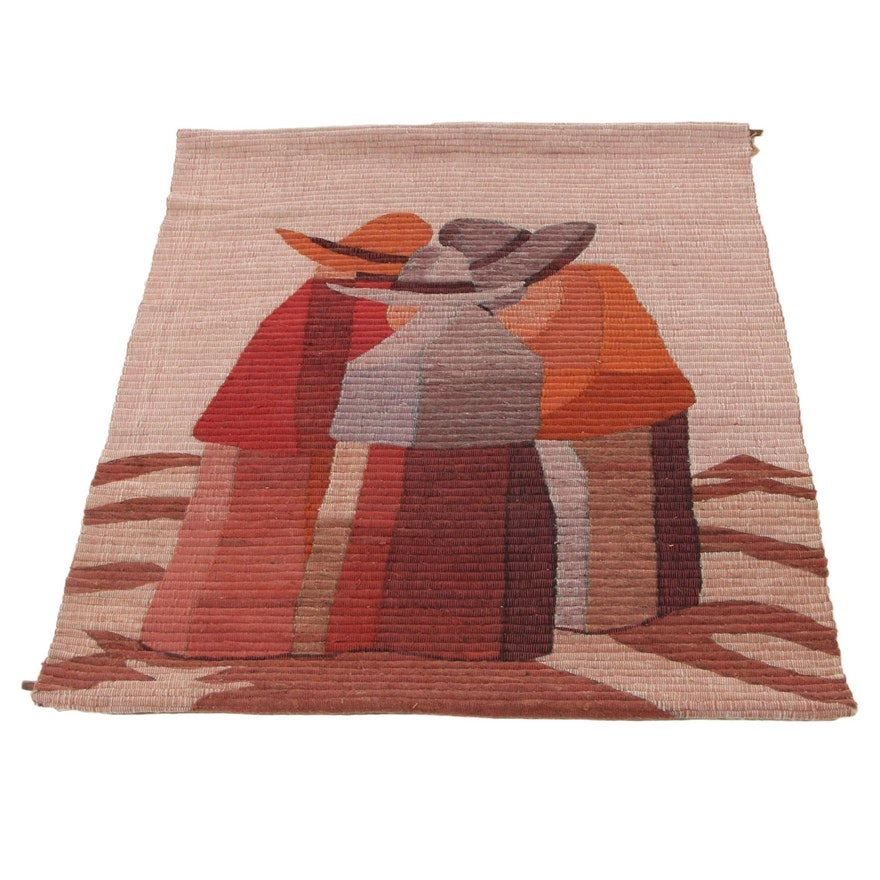 Peruvian Handwoven Wool Felt Figural Tapestry, Late 20th Century