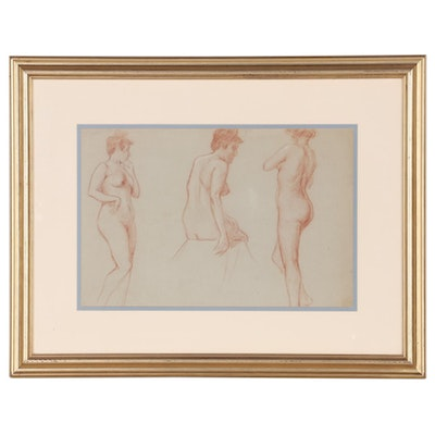 Charles F. Chambe Graphite and Conté Crayon Figure Study, Early 20th Century