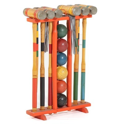 Croquet Outdoor Garden Game Set, 1970s