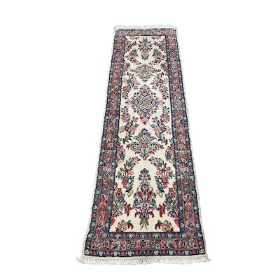 2'7 x 10'2 Hand-Knotted Indo-Persian Kerman Wool Carpet Runner