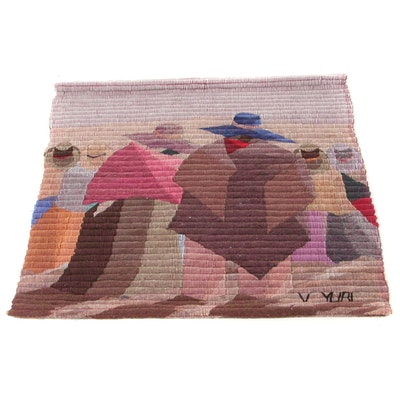V. Yuri Peruvian Handwoven Wool Felt Tapestry, Late 20th Century