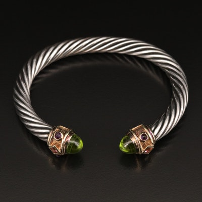 David Yurman Sterling Cable Cuff with Mixed Gemstone End Caps