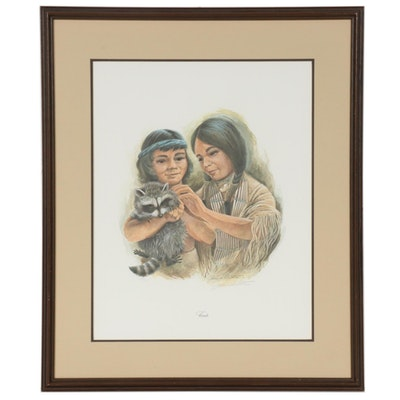 "John A. Ruthven Offset Lithograph ""Friends,"" Mid to Late 20th Century"