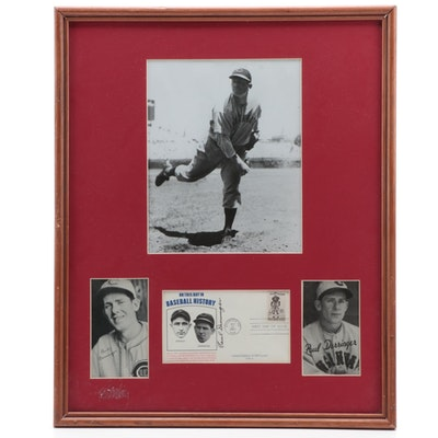 Paul Derringer Signed Framed Baseball Display with 1936 Goudey Wide Pen Cards