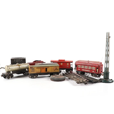 Lionel Tin Lithograph Model Train Cars and American Flyer Transformer, 1930s
