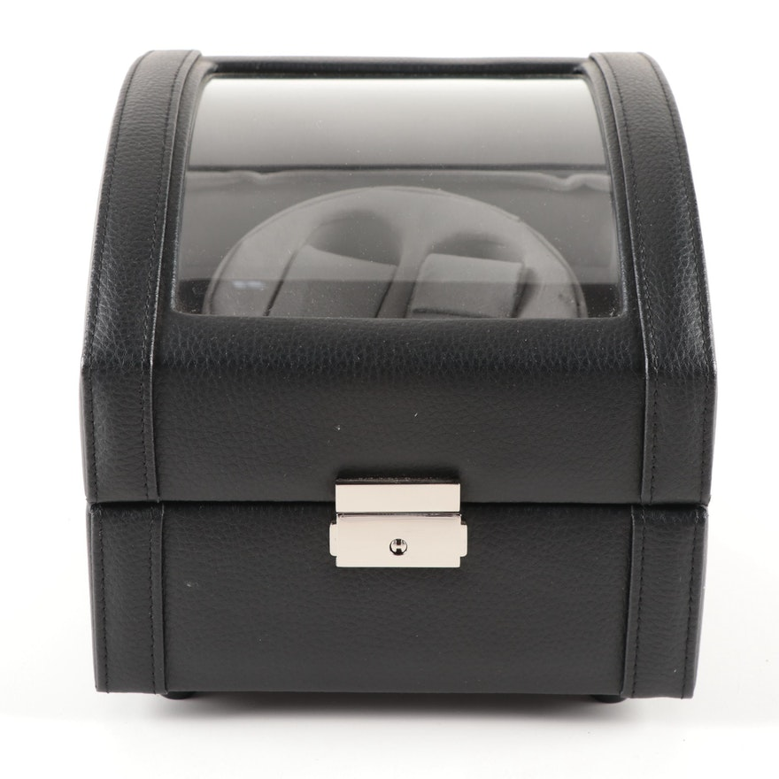 Bey-Berk Black Leather Locking Dual Watch Winder Box