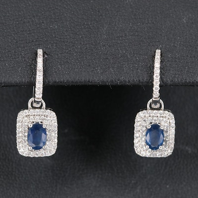 14K Sapphire and Diamond Drop Earrings