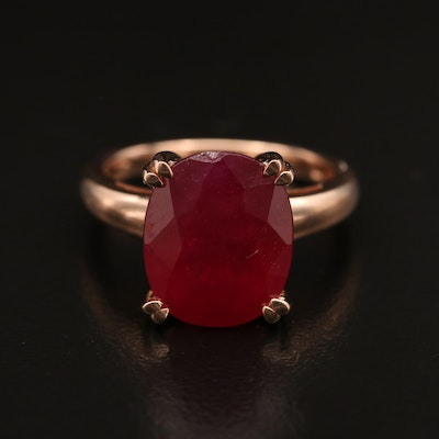 14K Rose Gold Corundum Ring