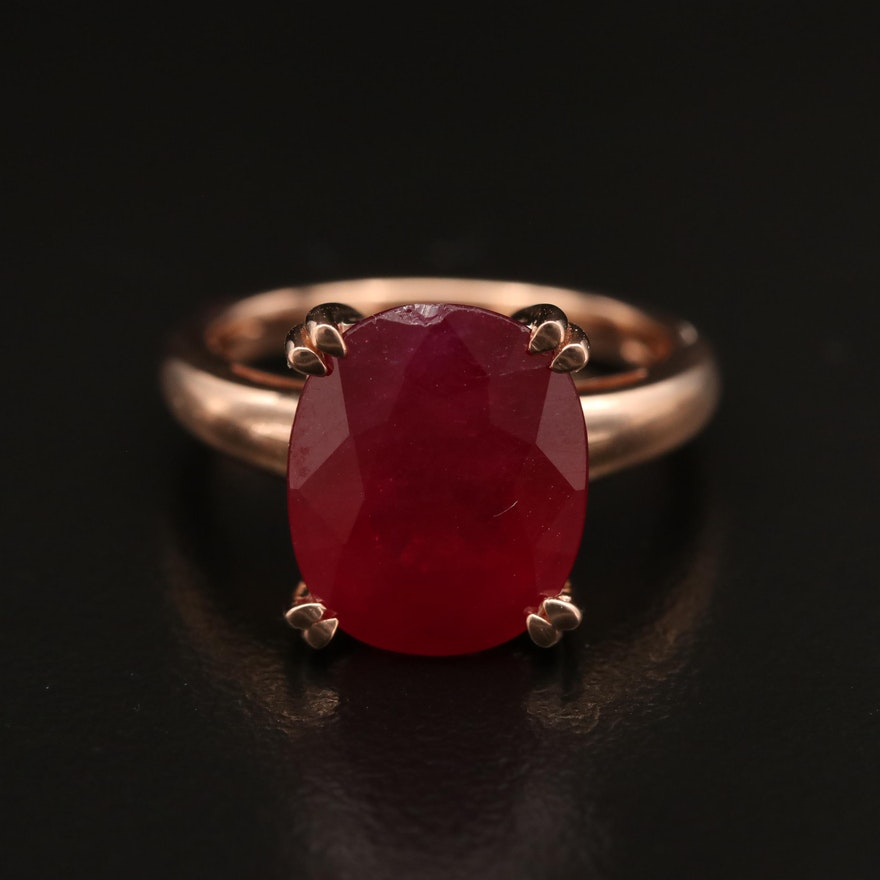 14K Rose Gold Corundum Ring