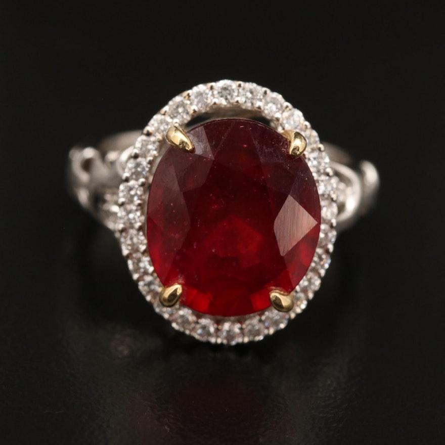 18K Corundum and Diamond Halo Ring