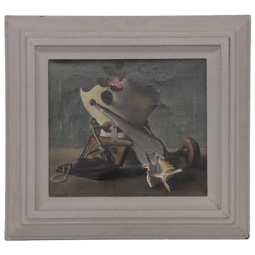 Will Hollingsworth Oil Painting of Surreal Style Still Life, Mid-20th Century