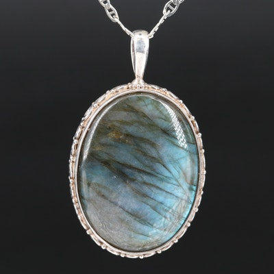 Sajen Sterling Labradorite and Abalone Reversible Necklace