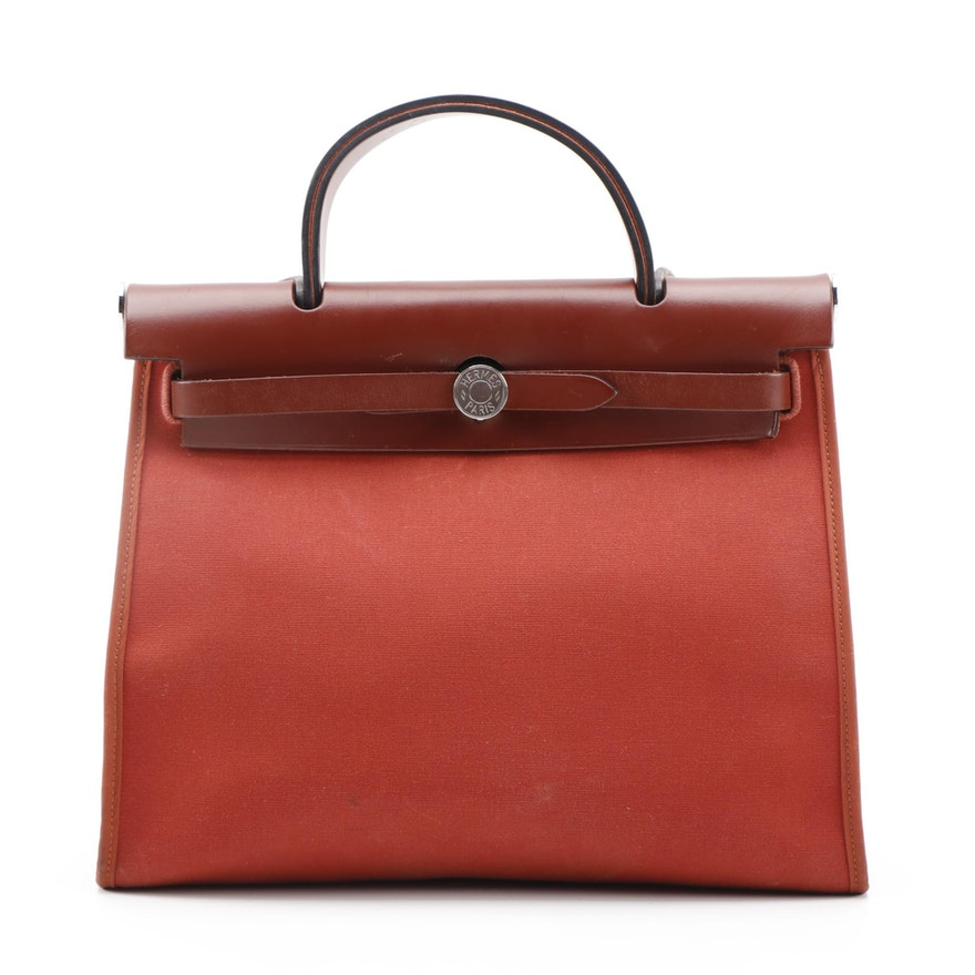 Hermès Herbag Zip PM Bag in Canvas with Calfskin Leather Trim