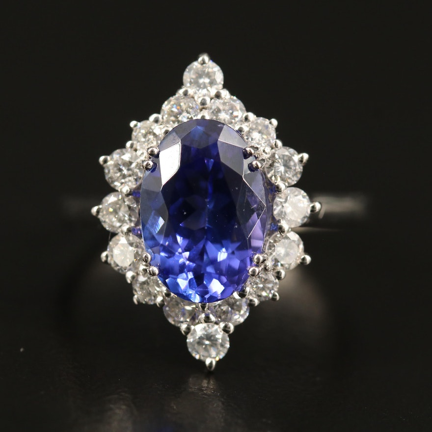 Platinum 3.34 CT Tanzanite and Diamond Halo Ring