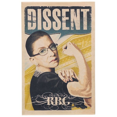 "Giclée of Ruth Bader Ginsburg as Rosie the Riveter ""Dissent,"" 21st Century"